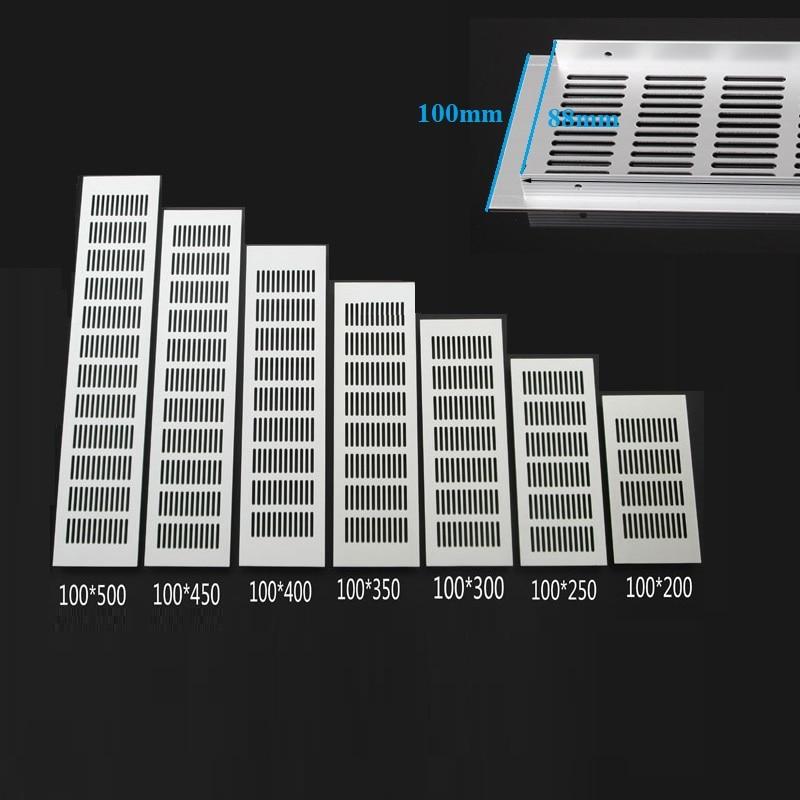 4Pcs 100MM Wide Rectangle Aluminum Air Vent Ventilation Grille Cover Closet Shoe Cabinet Air Conditioner