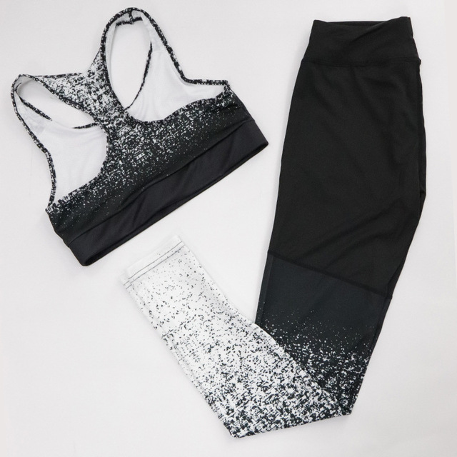 Women Fitness Yoga Set Sleeveless Top High Waist Pants Sportswear Gradient Print Leggings & Bra Ombre Stretchy Running Gym Suits