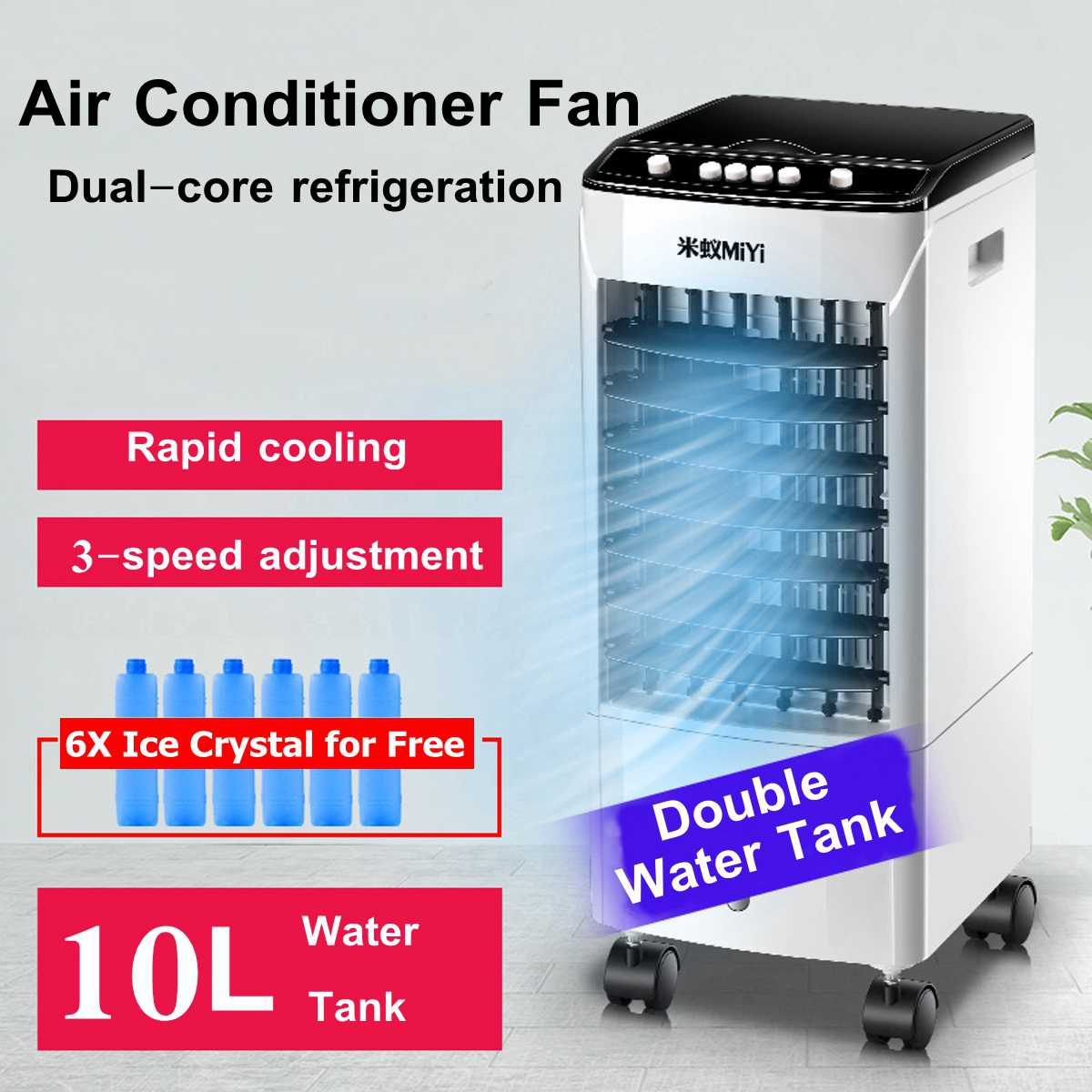 10L 220V Tank Home Water Mobile Portable Air Conditioner Conditioning Fan Humidifier Cooler Cooling  Timer +6 Ice Crystal