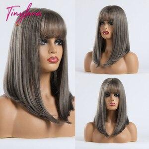 Image 4 - Küçük LANA düz sentetik peruk kadınlar için afrika amerikan orta uzunlukta gri kül peruk patlama ile ısıya dayanıklı iplik
