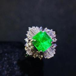 T1021 ювелирные изделия настоящее чистое Pt900 Платина 100% натуральный изумруд драгоценный камень 0.77ct женские свадебные кольца для женщин