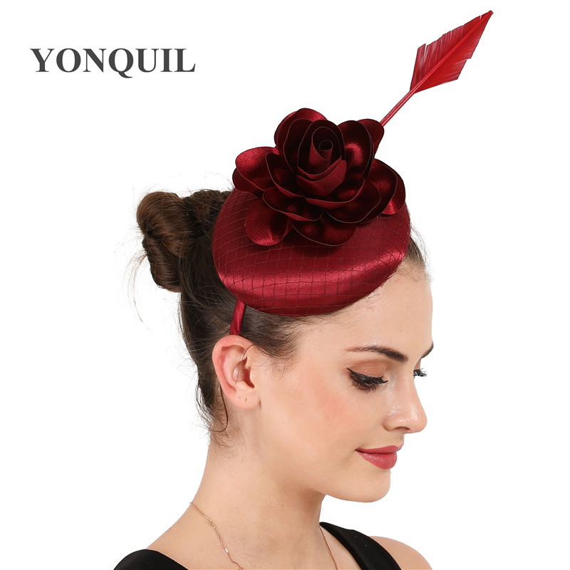Bride Feather Headwear Fascinator Wine Red Hair Decorate Flower Formal Hat Modeling Women Party Wedding Millinery Cap Fashion