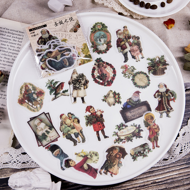 40 Pcs/lot Retro Stickers  Vintage Retro Christmas Manor Ancient Greece Angel DIY Planner Book Material  Scrapbooking Sticker