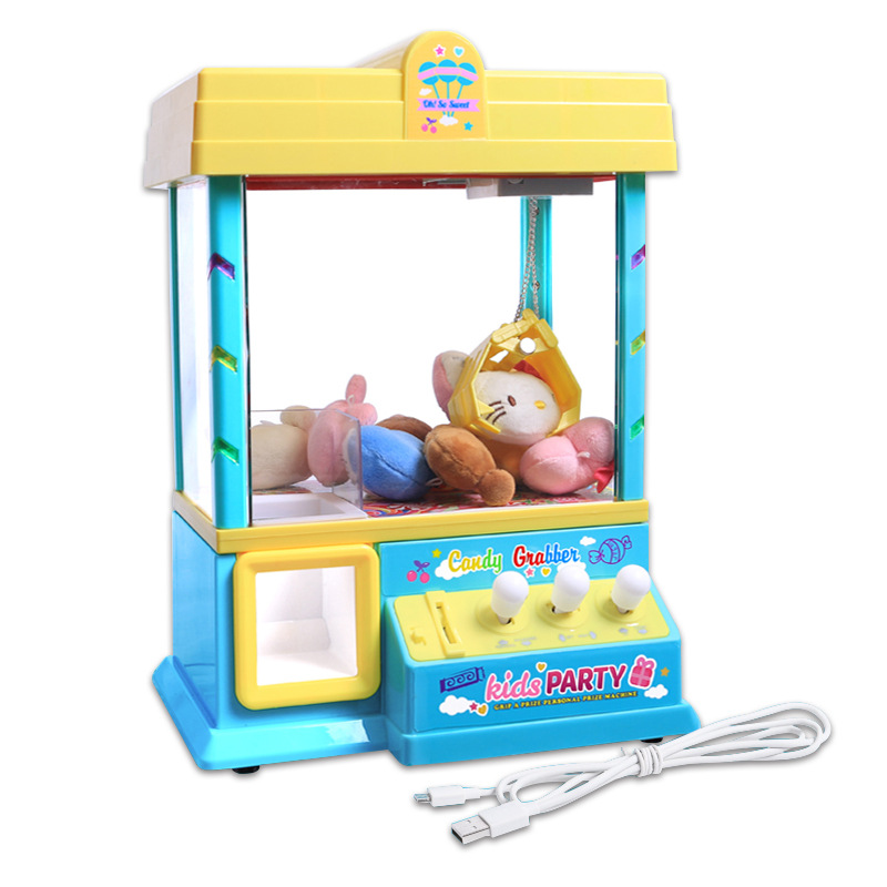 Children Catch Crane Machine Toy Candy Machine Yin Le Jia Doll Claw Machine USB Game Console Pink
