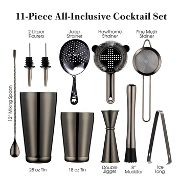 цена Cocktail Shaker Bar Set: 2 Weighted Boston Shakers,Cocktail Strainer Set,Jigger,Muddler and Spoon, Ice Tong and 2 Bottle Pourer онлайн в 2017 году
