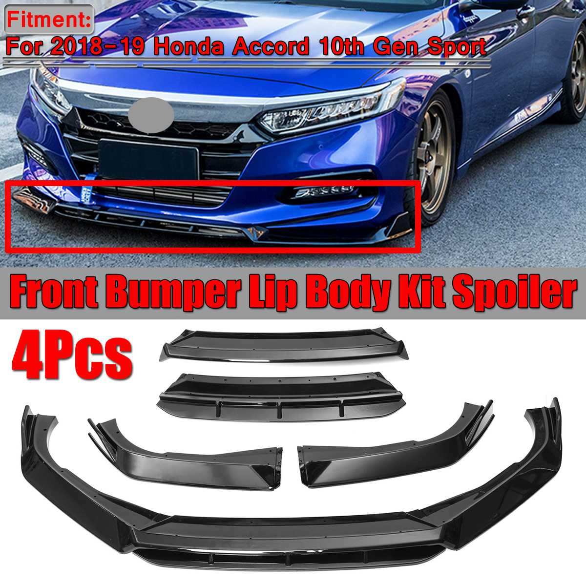 5x Front Bumper Spoiler Black Surround Molding Cover Trim For Honda Accord 18-19