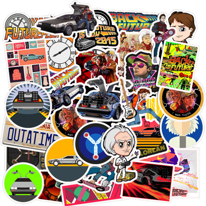 50 pçs filme de volta ao futuro adesivos pacote para no computador portátil geladeira telefone skate viagem mala adesivo