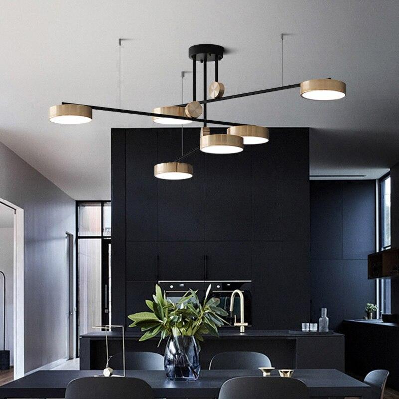 Işıklar ve Aydınlatma'ten Avizeler'de Post modern lüks LED avize ışıkları döner ışık oturma odası lamba Minimalist otel Villa asılı lamba title=