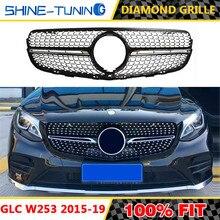 Calandre en diamant noire ou argentée sans logo central, adaptée au style AMG classe GLC W253 X253 GLC43 GLC200 GLC250 GLC300 GLC450