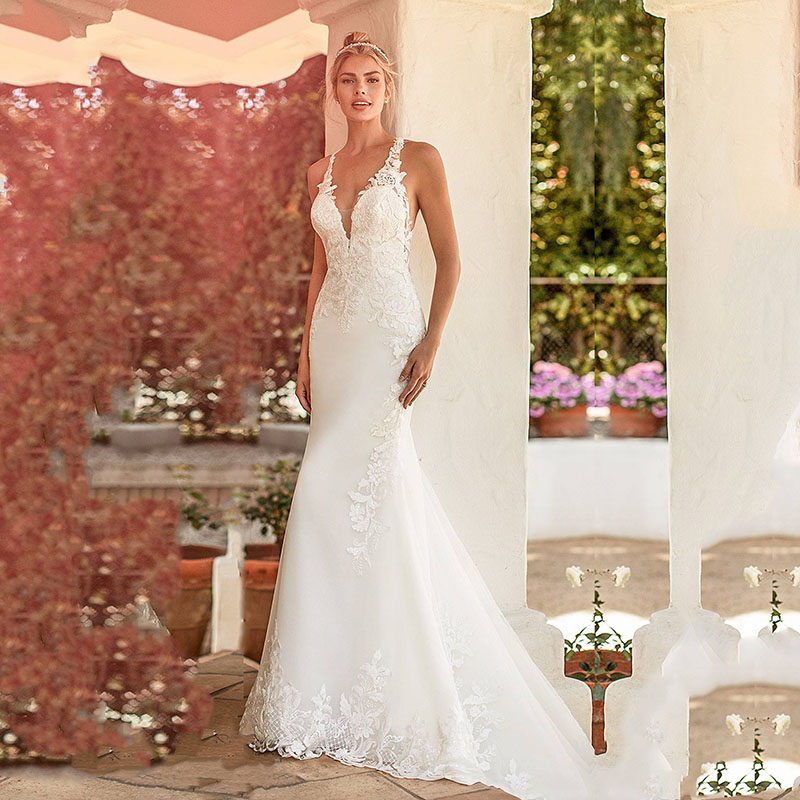 Eightale Wedding Dress Mermaid V-Neck Appliques Lace Wedding Gown Custom Made Backless Sexy Bridal Dresses
