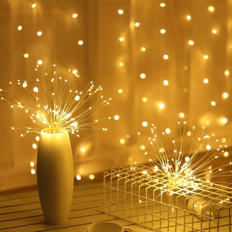 Novelty Firework String Light Warm White/Colorful 160 LED Plastic Copper Wire Lighting Bedroom Wedding Decorative Accessories