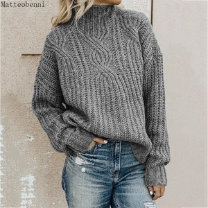 Fashion Womens Twist grey Knitted Sweaters Autumn Winter Turtleneck Sweater Women's Casual Loose Pullover Jumper Pull Plus Size(China)