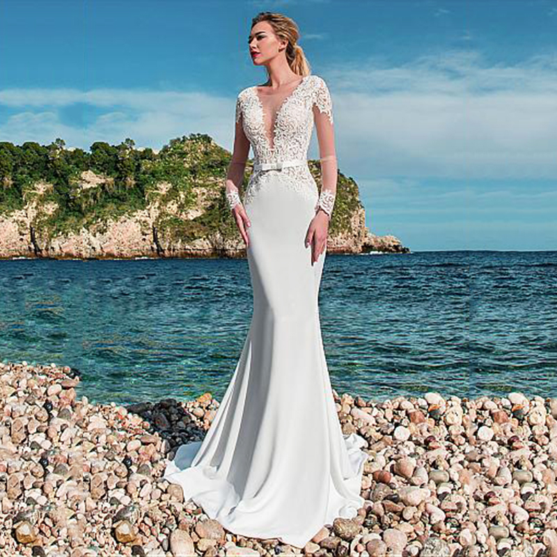 2020 Elegant Mermaid Wedding Dress Turkey Lace Appliques See Through Bridal Dress Satin Wedding Gown Vestidos De Noiva Plus Size