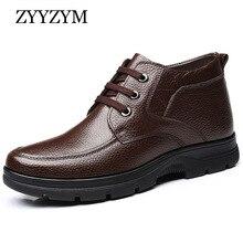 ZYYZYM Men Boots Winter Lace Up Style Cow Leather Shoes Ankle Plush Keep Warm Man Snow Boots Plus Size Zapatos De Hombre все цены