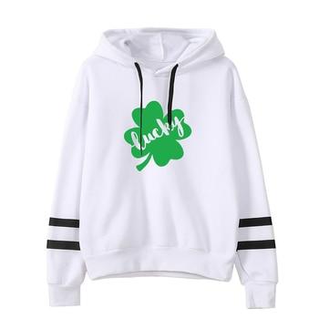 Lucky Shamrock Hoodies Four Leaf Luck Sweatshirt Kawaii Irish Shamrock Women St. Patrick's Day Woman Clothes фото