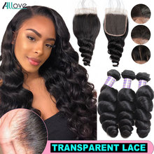 Allove Brazilian Loose Wave Bundles With Closure Transparent Closure With Bundles Loose Curl Bundles with Closure Non Remy Hair