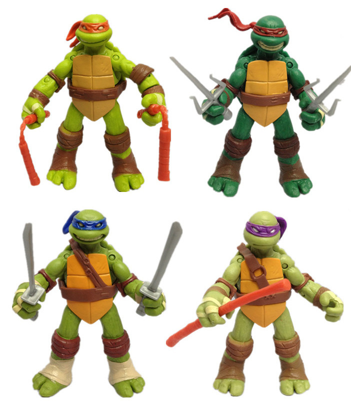 4pcs/set Boys Toys Turtles Action Figures Model Toy Classic Cartoon Model Collection For Kid's Christmas And Birthday Gift