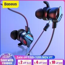 Baseus 3.5mm In ear Gaming Earphone For Pubg Controller GAMO 15 3D Stereo earphones For Mobile pubg Gamer with Detachable HD Mic