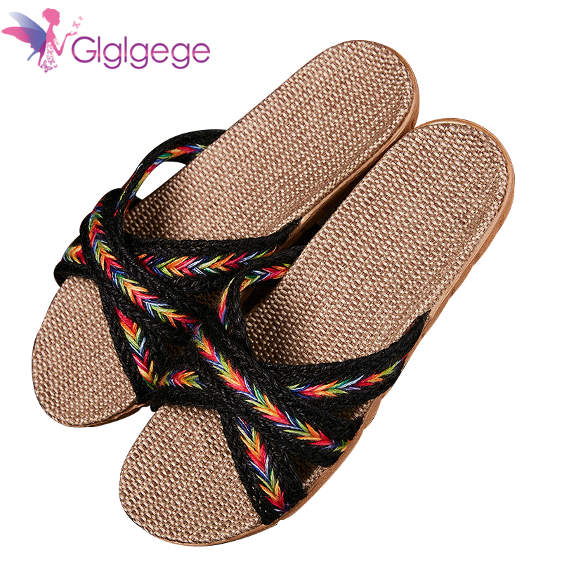 Hot Sale Glglgege Women's home slippers portable non-slip handmade cotton and linen cross straps linen breathable slippers women