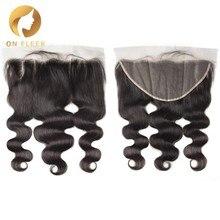 Brésilien cheveux humains dentelle fermeture vague de corps 13x6 Transparent dentelle fermeture avec pré plumé bébé cheveux remy cheveux blanchi noeud