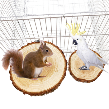 Bird Cage Accessories Pet Round Wooden Coin Jumping Platform Chew Toy for Parrot Parakeet Cockatiel Squirrel Hamster Totoro 5