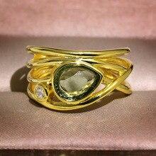 RongXing creativo agua gota Multicolor piedra lunar anillos para mujer moda Vintage oro amarillo lleno multicapa anillo regalo de lujo