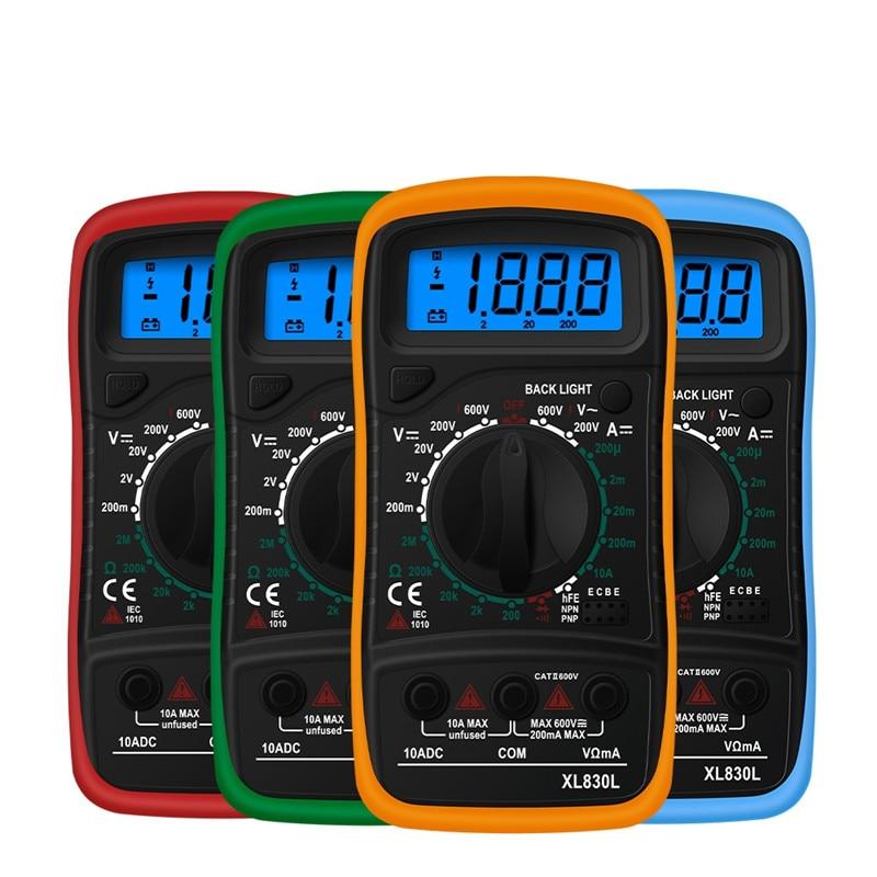 Junejour XL830L Handheld Digital Multimeter LCD Backlight Portable AC/DC Ammeter Voltmeter Ohm Voltage Tester Meter Multimetro