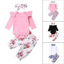 Новинка; топы с длинными рукавами для маленьких девочек; комбинезон; штаны с цветочным рисунком; комплект одежды