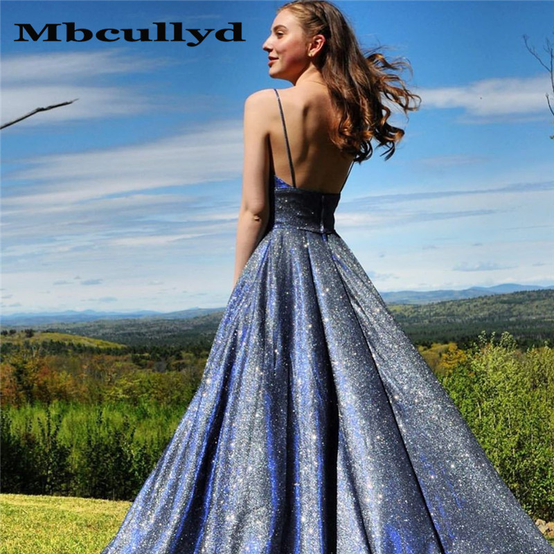 Mbcullyd Designer Sequined Long Prom Dresses 2020 Elegant A-line Sweep Train Formal Evening Dress Party For Women Robe De Soiree