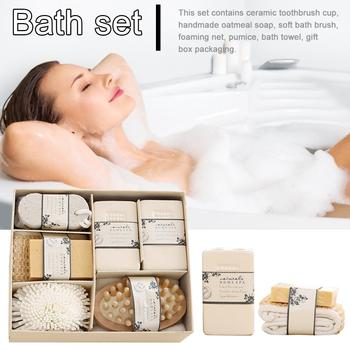Eco Friendly Women Man Girl Kid Baby Bath Spa Essentials Bath Set With Pumice Stone Sponge Wooden Massager Brush Soap Gift Set 4