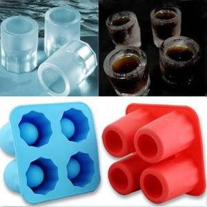 Creative 4 Cup Shaped Glass Freeze Mold Maker Silicone Ice Cube Glass Freeze Mold Ice Cream Tools Bar Tools Ktchenware Hot Sale