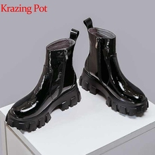 Boots Krazing-Pot Side-Zipper Preppy-Style Genuine-Leather Women Winter Ankle L13 Thick-Bottom