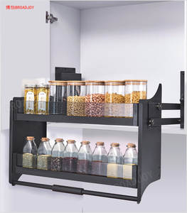 Shelf Storage-Rack Kitchen with Damping Double-Layer Hardware Pull-Down Cabinet High-Rise
