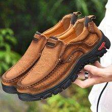 גברים נעליים יומיומיות סניקרס 2019 חדש באיכות גבוהה בציר 100% עור אמיתי נעלי גברים פרה עור דירות עור נעלי גברים נעליים