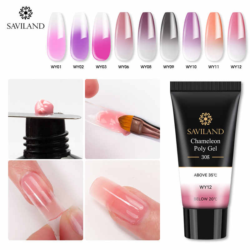Saviland 30G Thermische Poly Gel Vinger Uitbreiding Crystal Jelly Poly Gel Nail Gel Camouflage Uv Led Hard Gel Acryl builder Gel