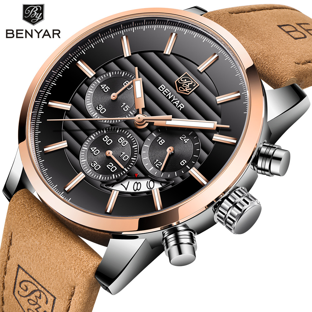 <font><b>BENYAR</b></font> Top Brand New Casual Fashion Men Quartz Watch Luxury Military Leather Strap Chronograph Men Watch Relogio Masculino image