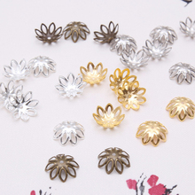 100pcs Silver Gold Bronze Plated Flower Petal End Spacer Beads Caps Charms Bead Cups Receptacle For Diy Jewelry Making Accessory