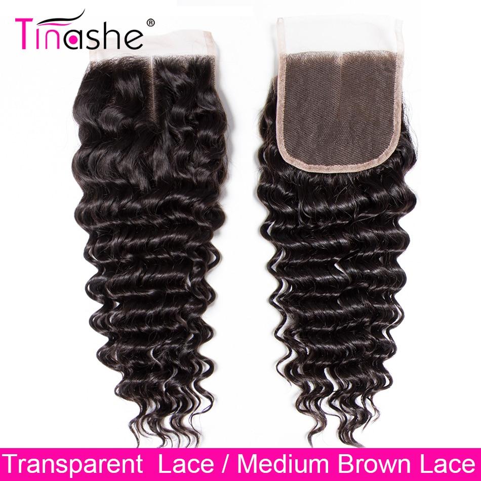 Волосы Tinashe с глубокой волной, HD Прозрачная Кружевная застежка, 100% натуральные волосы без повреждений, бразильские волосы, швейцарская круж...