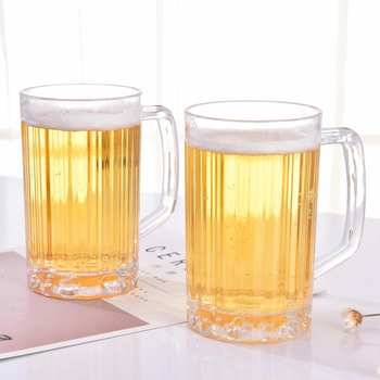 New 500ml  Beer Cup KTV Large Beer Cup with Handle Clear Plastic Drinks Cups Breakfast Milk Coffee Water Mug Barware Drinkware