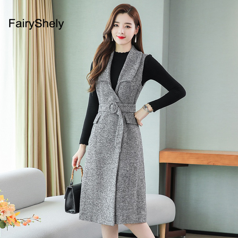 FairyShely Woolen Vest Knitted Sweater Dress Suit Women 2019 Autumn Winter Vintage Long Pullover Belt Blazer Dress Two Piece Set