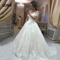 LORIE Elegant Lace Ball Gown Wedding Gowns for Bride Off Shoulder Back Lacing Wedding Dress Plus Size robe mariage