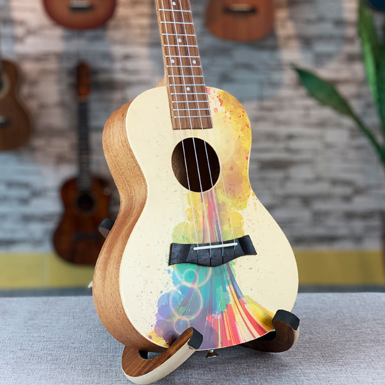 Ukulele Spruce Wood Color Acoustic Soprano Concert Tenor Uke Hawaiian Guitar