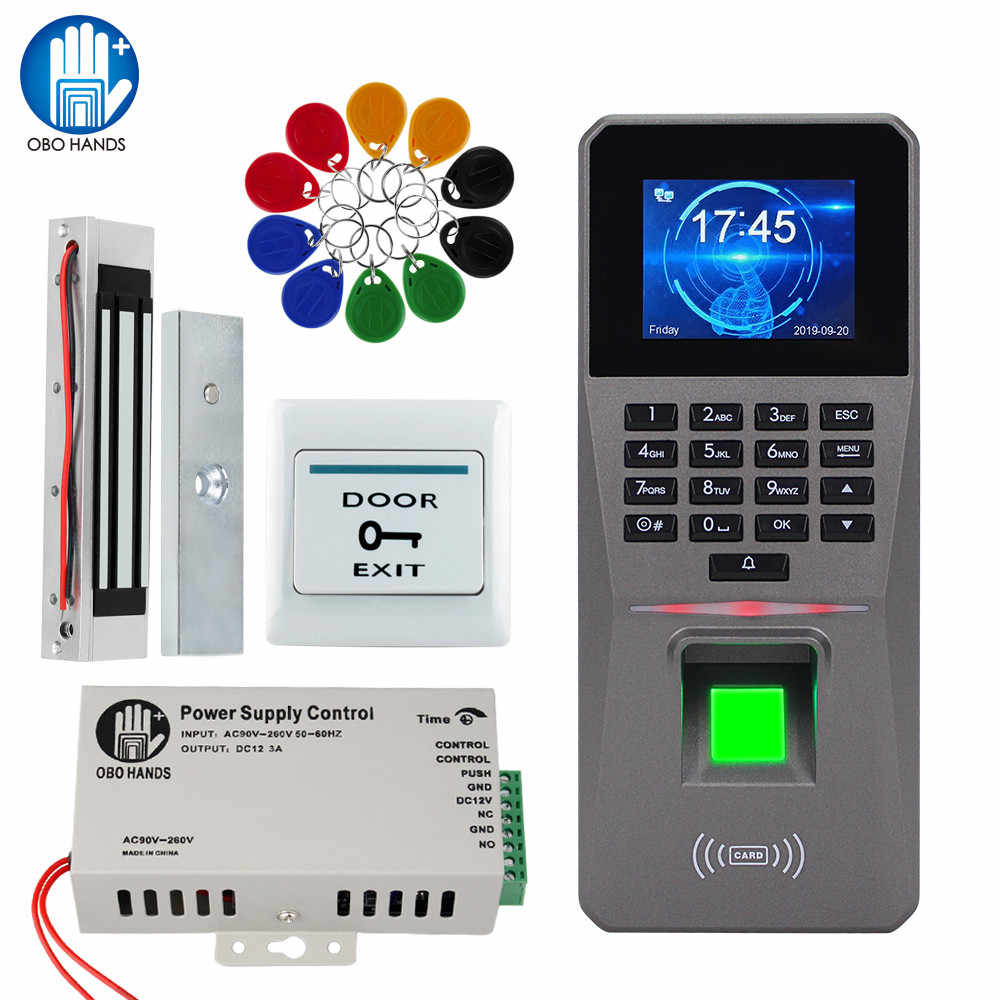 Sidik Jari Akses Kontrol Sistem Biometrik RFID TCP/IP USB dengan Perangkat Lunak Password Keypad + Power Supply + Kunci Listrik