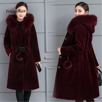 Mink fur coat for women long mink down waist slimming hoodie imitation fur coat winter new plus size thickening