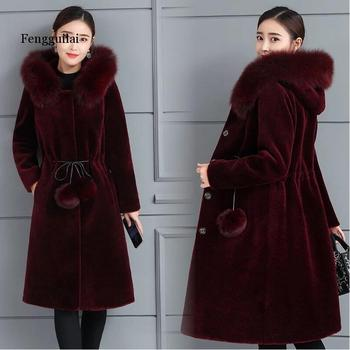 Mink fur coat for women long mink down waist slimming hoodie imitation fur coat winter new plus-size thickening недорого