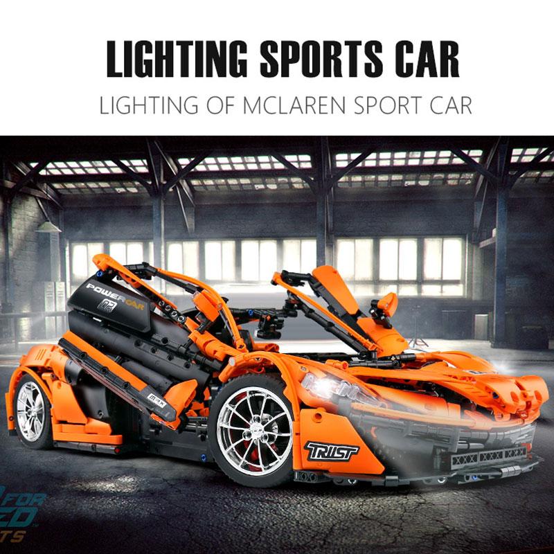 1 to 8 ratio 13090 Technic Series McLaren P1 Orange Racing Car Set APP RC Model Building Blocks Power Motor Function Toys 20087 3