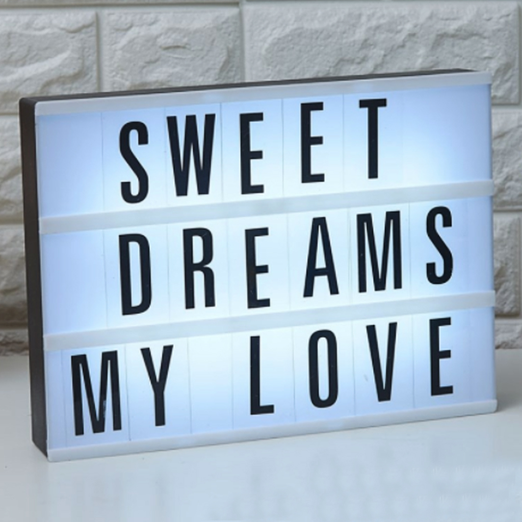 LED Night Light With 96 Letters Cards DIY Box Lamp AA Battery Cinema Lightbox Message Board Bedside Room Home Decoration  A6