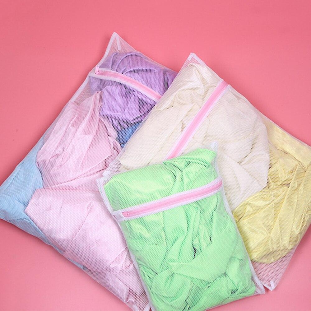 3Size Zipped Laundry Bag Foldable Lingerie Bra Sock Underwear Wash Mesh Net Bag Washing Machine Clothes Protection Net Organizer