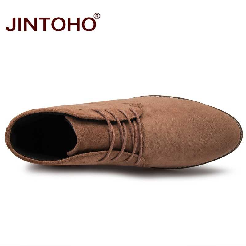JINTOHO แฟชั่นชี้ Toe รองเท้าหนังผู้ชายราคาถูกฤดูหนาวฤดูหนาวรองเท้าสำหรับชาย 2019 ชายรองเท้าบุรุษข้อเท้า