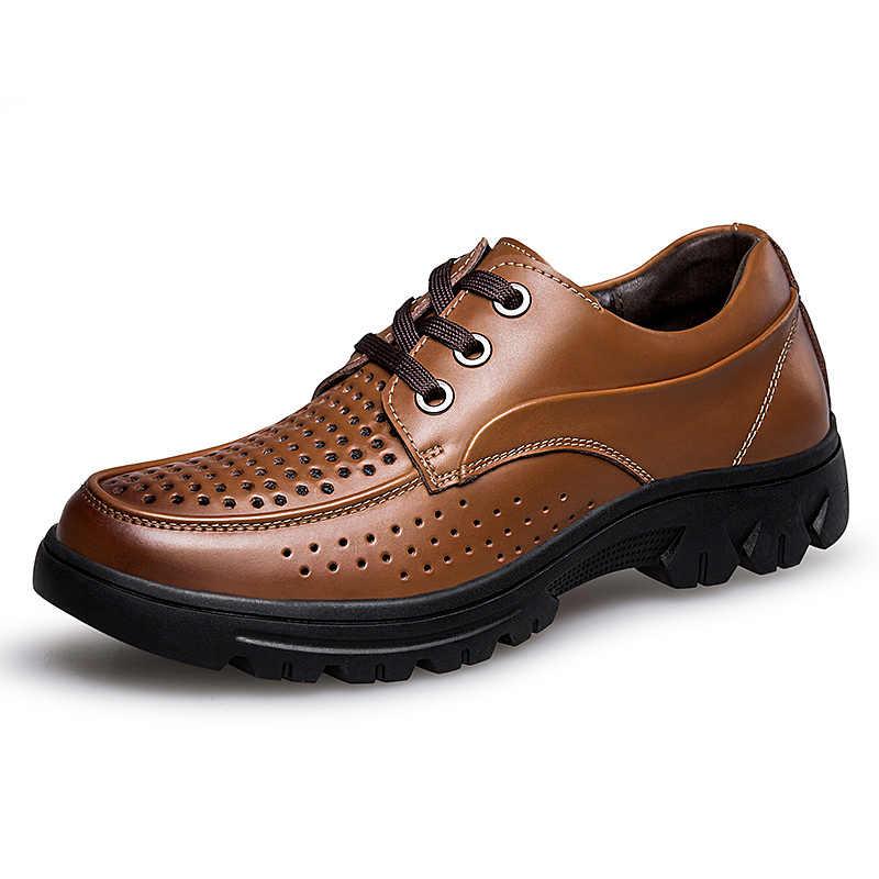 New Style Verão Oco Respirável Sapatos de Couro Genuíno dos homens Vestido de Negócios Sapatos Oxford Moda Preto Homens Sapatos Flats